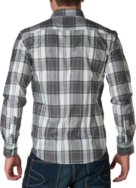 White & GreyCheck Full Dress Shirt PNG