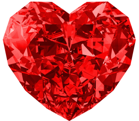White Red Heart Diamond PNG