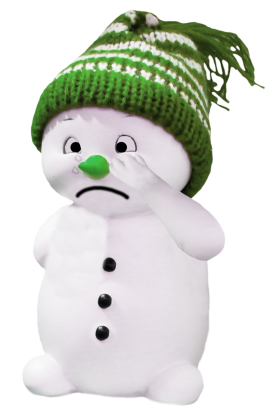 White Snoman with green Cap PNG