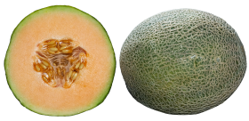 Whole and Half Cantaloupe Slices PNG
