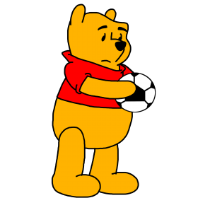 Winnie Pooh Holding Soccer PNG