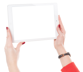 Woman Hands Holding iPad PNG