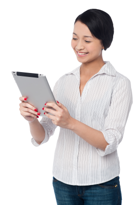 Woman holding iPad PNG