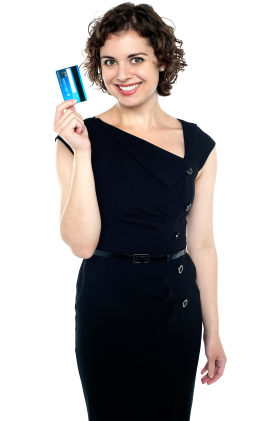 Women Holding Credit Card PNG