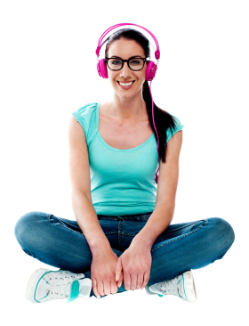 Women Listening Music PNG