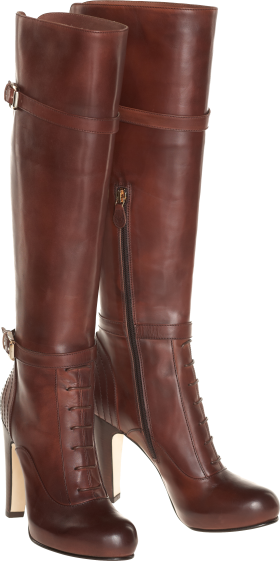 Women's boot made of genuine Chocolate leather PNG