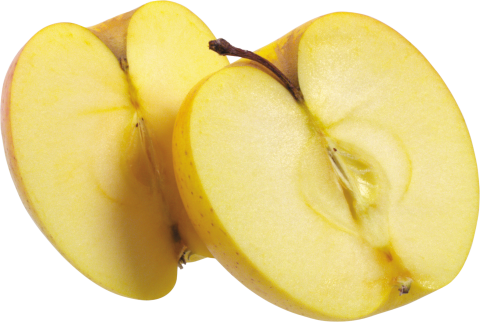 Yellow Apple Cut in half PNG