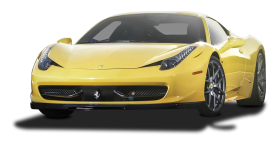 Yellow Ferrari 458 Italia Car PNG