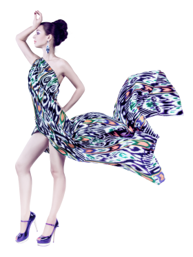 Young Woman In Fashion Flying Fabric Dress PNG