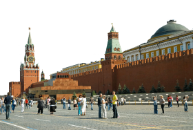Tourists at Spasskaya Tower in Moscow PNG