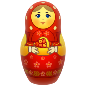 Red Russian Nesting Doll PNG