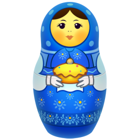 Blue Russian Nesting Doll PNG