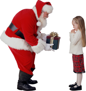 Santa giving a Gift to the child PNG