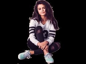 Selena Gomez Sitting Sneakers PNG