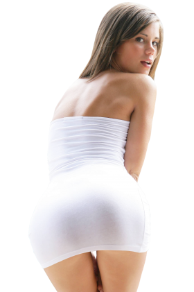 Sexy Little Caprice in White Dress PNG