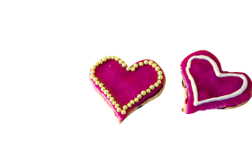Shocking Pink Heart Creamy Cookie PNG