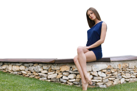 Sitting Little Caprice in Blue Dress PNG