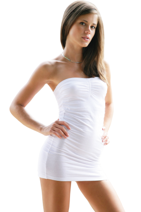 Standing Little Caprice in White Dress PNG