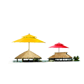 Red and Yellow Summer Huts PNG