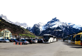 Parked Buses and Cars by the Alps PNG