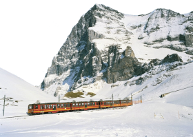 Train ride by Snowy Alps - Switzerland PNG