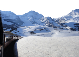 Train ride along the Snowy Swiss Alps PNG
