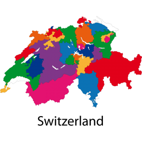 Colourful Map of Switzerland PNG