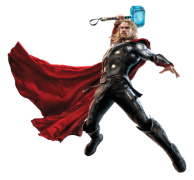 Thor Fighting with his Hammer PNG
