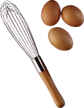 Three eggs with Beater PNG