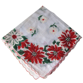 Vintage Christmas Holiday Poinsettia Handkerchief PNG