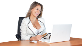 Woman on Laptop PNG