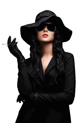 Woman wearing Black with Hat PNG