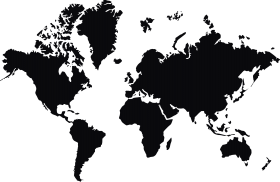 Worlp Map in Black PNG