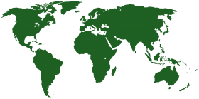 Worlp Map in Green PNG