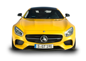 Yellow Mercedes AMG GT Solarbeam Car Front PNG
