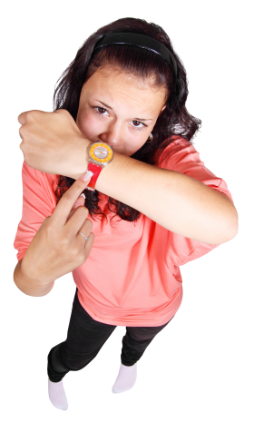 Young Girl Pointing Finger At Her Watch PNG