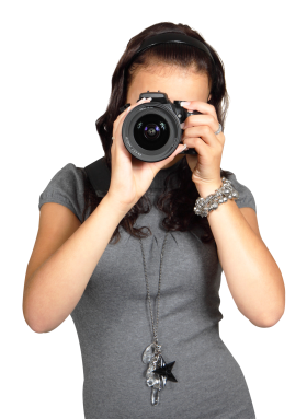 Young Woman with Digital Photo Camera PNG