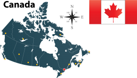 Map and Flag of Canada