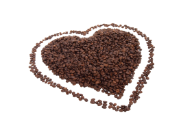 Love Shape made of Coffee Beans