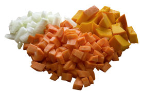 Cube Shaped Cut vegetables