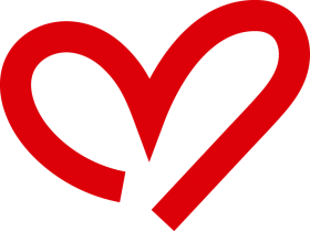 Curved Red Heart Outline