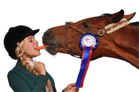 Girl eating carrot with horse