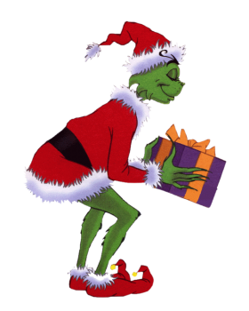 The Grinch holding A Gift