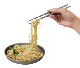 Hand holding Noodles with Chopsticks