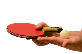 Hands holding Table Tennis of Racket and Ball