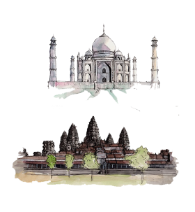 Drawing of Sights of India