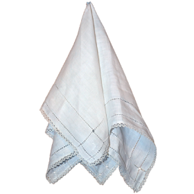 Lace handkerchief draped