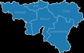 Blue Map of Belgium