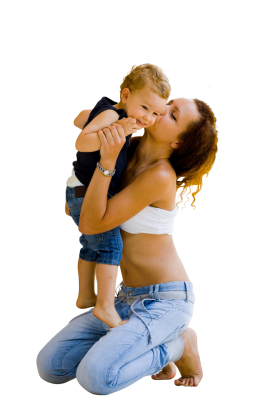 Mom kisses a son