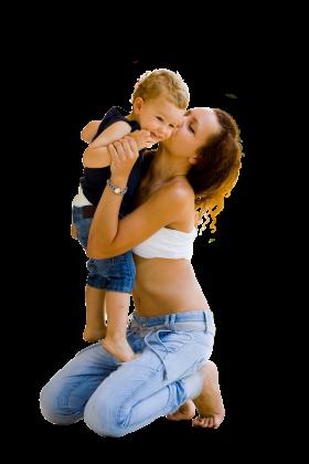 Mom kisses a son